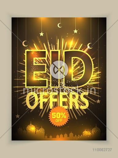 Eid offers poster, banner or flyer decorated with shiny fireworks, crescent moons and stars on golden mosque silhouette background.