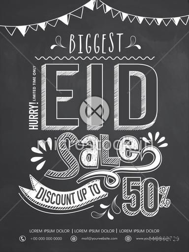 Creative biggest sale poster, banner or flyer presentation with discount offer in chalkboard style for Muslim community festival, Eid celebration.