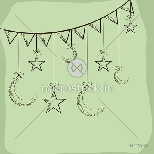 Holy month of muslim community, Ramadan Kareem celebration with creative moon and stars hanging by bunting.