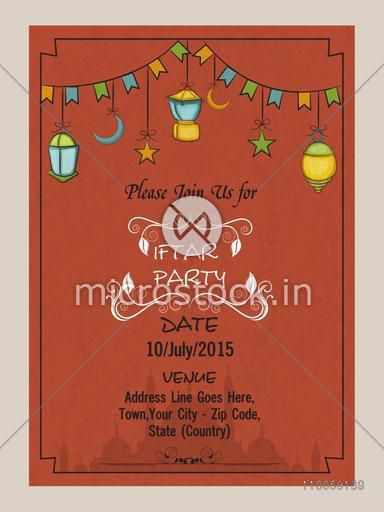 Holy month of Muslim community, Ramadan Kareem Iftar party celebration invitation card with colorful lamps or Islamic mosque.
