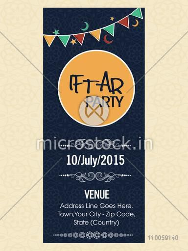 Floral decorated invitation card for holy month of Muslim community, Ramadan Kareem Iftar party celebration with date, time and place details.