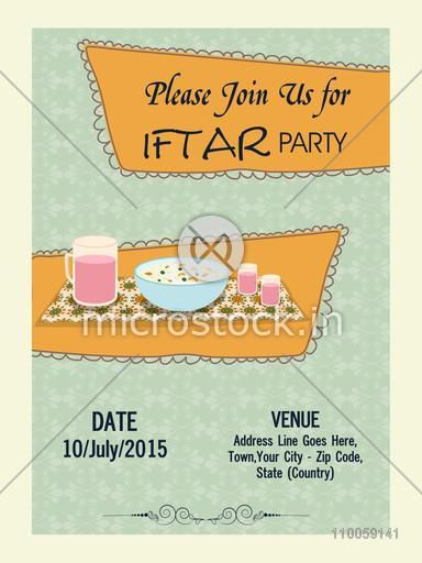 Holy month of muslim community, Ramadan Kareem Iftar party celebration invitation card with date, time and place details.