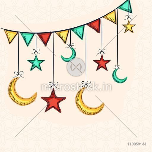 Colorful stars and moons hanging by bunting for holy month of muslim community, Ramadan Kareem celebration.