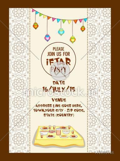 Holy month of muslim community, Ramadan Kareem Iftar party celebration invitation card with delicious food, date, time and place details.