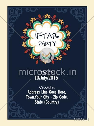 Beautiful invitation card with date, time and place details for holy month of muslim community, Ramadan Kareem Iftar party celebration.