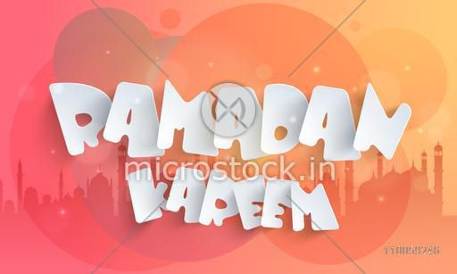 Paper text Ramadan Kareem on colorful islamic mosque silhouette background for muslim community, holy month of prayer celebration.