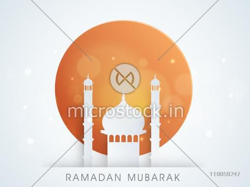 Holy month of muslim community, Ramadan Kareem celebration with illustration of islamic msoque on stylish background.