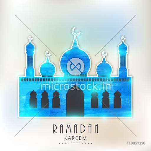Shiny blue Islamic Mosque for holy month of Muslim community Ramadan Kareem celebration, can be used as sticker, tag or label design.