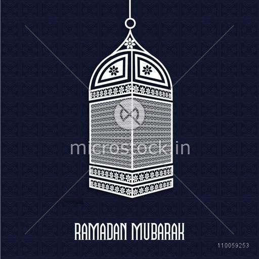 Holy month of Muslim community Ramadan Kareem celebration with floral design decorated lamp hanging on seamless blue background.