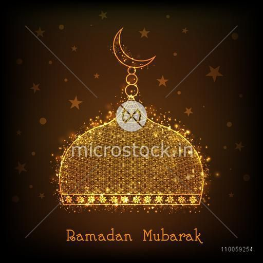 Golden upper part of Islamic Mosque with text Ramadan Mubarak on stars decorated brown background for holy month of Muslim community celebration.