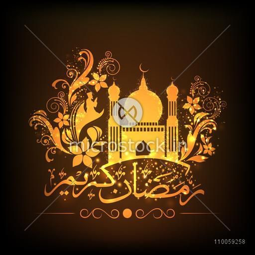 Arabic calligraphy of text Ramazan Kareem (Ramadan Kareem) with golden Islamic Mosque surrounded by beautiful floral pattern for Muslim community festival celebration.