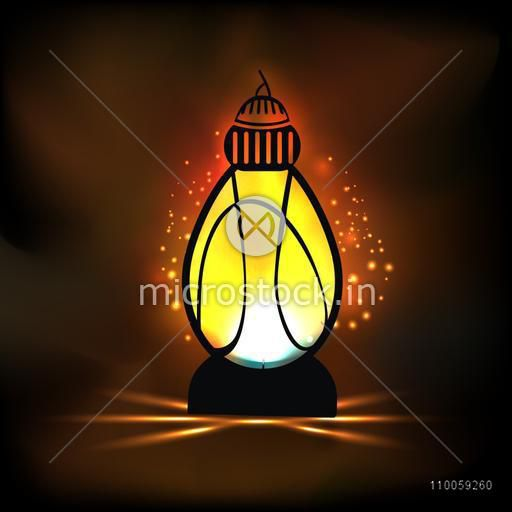 Illuminated Arabic lantern on shiny brown background for holy month of Muslim community Ramadan Kareem celebration.