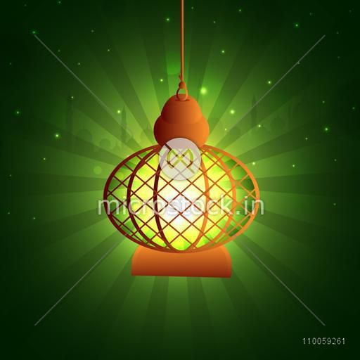 Illuminated Arabic lamp hanging on Islamic Mosque decorated green background for holy month of Muslim community Ramadan Kareem celebration.