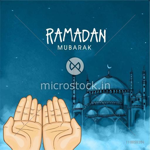Illustration of praying human hands in front of Islamic Mosque in night view for holy month of Muslim community Ramadan Kareem celebration.