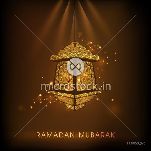 Beautiful floral design decorated Arabic hanging lamp on shiny brown background for holy month of Muslim community Ramadan Kareem celebration.