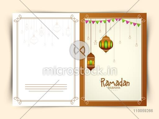 Beautiful greeting card decorated with illuminated hanging Arabic lamps and stars for holy month of Muslim community Ramadan Kareem celebration.