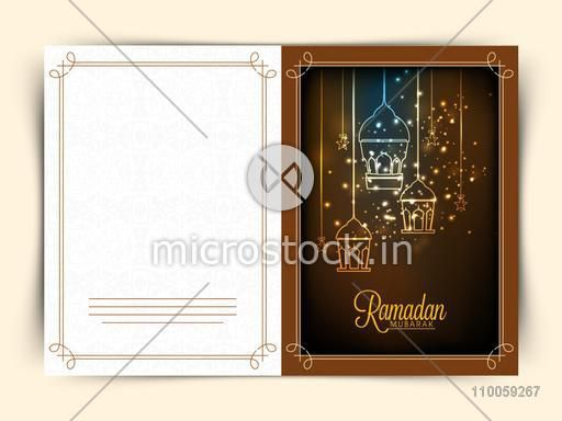 Creative greeting card decorated with shiny hanging lamps and stars for holy month of Muslim community Ramadan Kareem celebration.