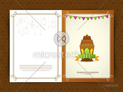 Holy month of Muslim community Ramadan Kareem celebration greeting card decorated with Arabic lamp on brown background.