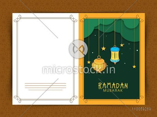 Beautiful greeting card design decorated with shiny hanging Arabic lamps and stars for holy month of Muslim community Ramadan Kareem celebration.