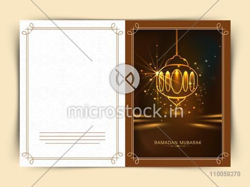 Golden Arabic lamp decorated greeting card design for holy month of Muslim community Ramadan Kareem celebration.