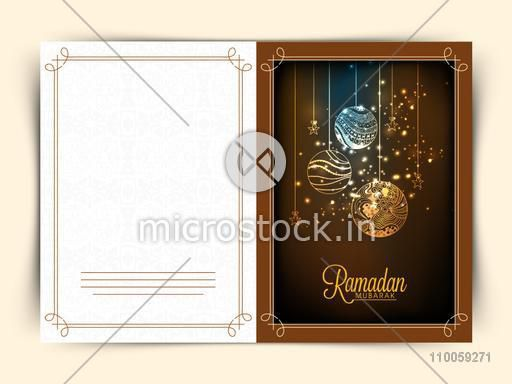 Beautiful greeting card design with floral decorated balls and stars for holy month of Muslim community Ramadan Kareem celebration.