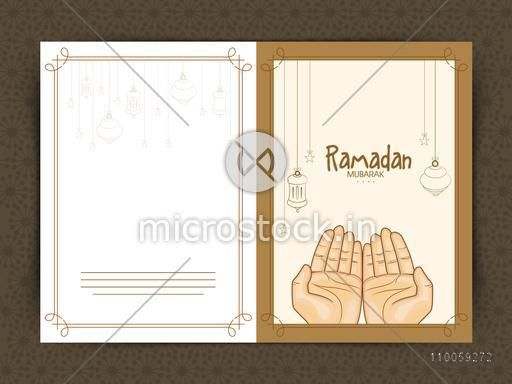 Islamic holy month Ramadan Kareem celebration greeting card decorated with praying human hands, hanging Arabic lamps and stars.