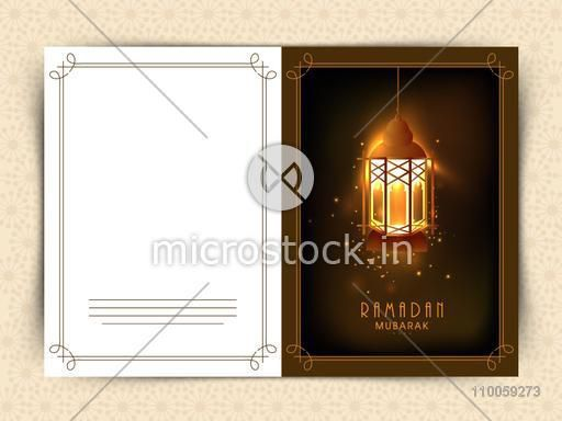 Illuminated Arabic lantern decorated greeting card design for holy month of Muslim community Ramadan Kareem celebration.