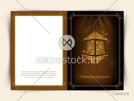 Beautiful greeting card decorated with floral Arabic lamp for holy month of Muslim community Ramadan Kareem celebration.