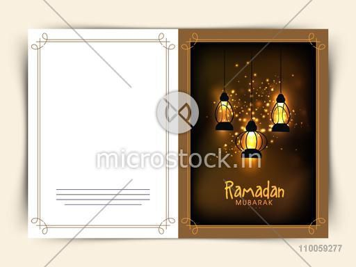 Islamic holy month Ramadan Kareem celebration greeting card design with hanging illuminated Arabic lanterns decoration.