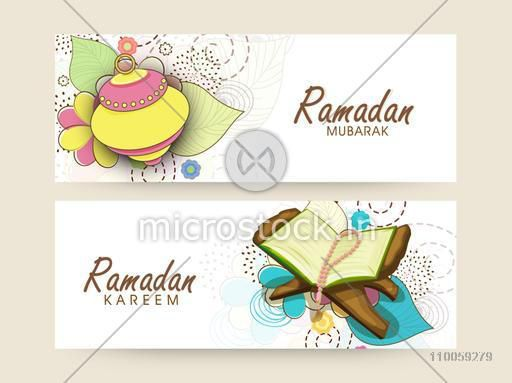 Website header or banner set decorated with Arabic lamps, religious book Quran Shareef and rosary for Islamic holy month Ramadan Kareem celebration.