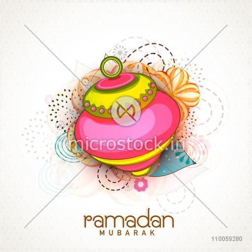 Holy month of Muslim community Ramadan Kareem celebration with shiny Arabic lamp on floral design decorated seamless background.
