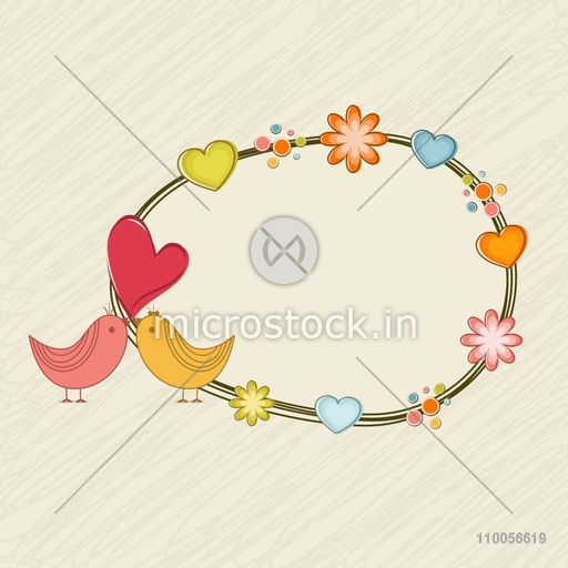 Cute love bird couple with colorful flowers and hearts decorated ...