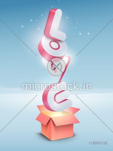 3D glossy text Love coming out from an open box on shiny sky blue  background for Happy Valentines Day celebration