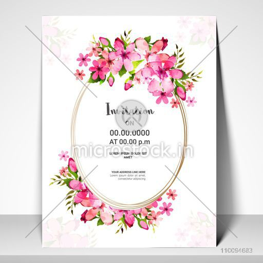 Pink Flowers Decorated Invitation Card Or Greeting Card Design For Wedding Anniversary Birthday Festivals And Other Occasions