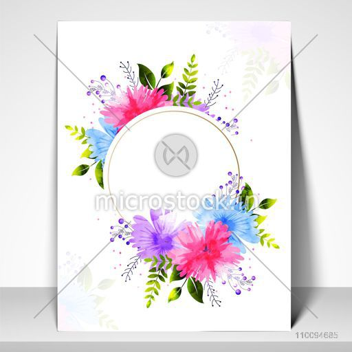 Elegant Greeting Card or Invitation Card template layout decorated with colorful flowers.