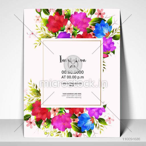 Invitation Card layout with colorful watercolor flowers decoration for Save the Date, Birthday, Anniversary and Party celebrations.