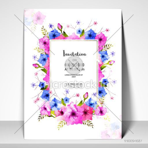 Pink and Blue watercolor flowers decorated Invitation Card or Greeting Card template layout.
