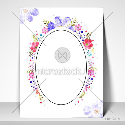 Elegant Greeting Card or Invitation Card with oval shaped frame and colorful floral elements decoration.