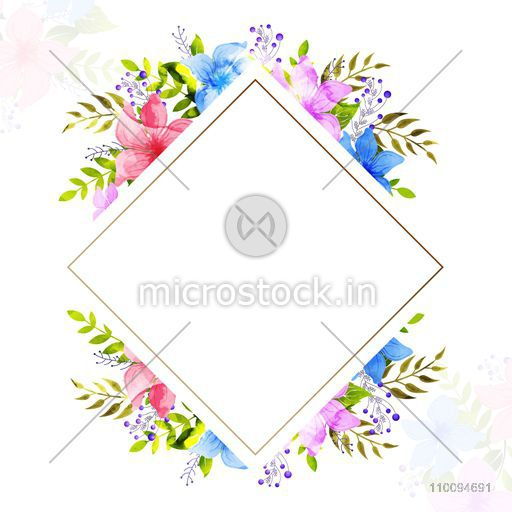 Greeting or Invitation Card with watercolor flowers and blank square shaped frame for your message.