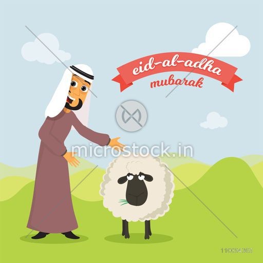 Cartoon arabian man with sheep on green field background for Islamic Festival of Sacrifice, Eid-Al-Adha Mubarak.