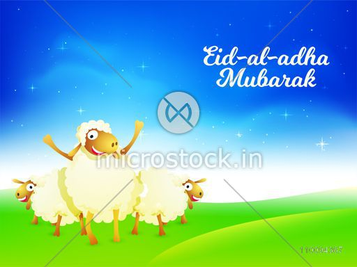 Eid-Al-Adha Mubarak background with happy sheep cartoons on shiny background, Islamic Festival of Sacrifice concept.