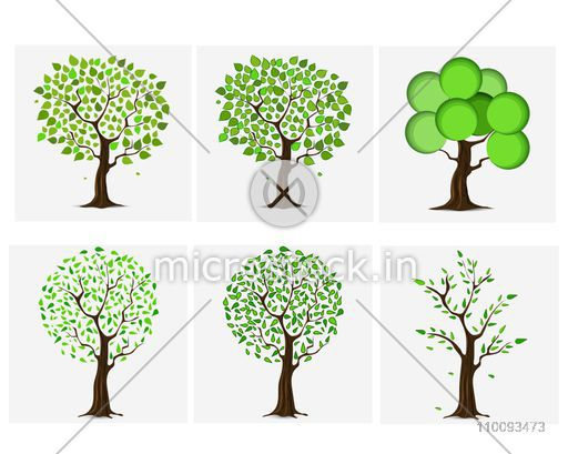 set of six different green trees design for nature concept vector