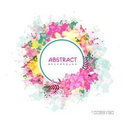 Creative abstract background with grungy colorful splash and beautiful pink flowers.