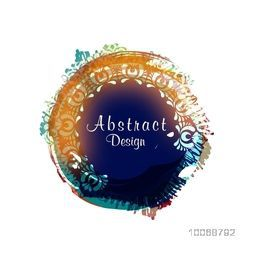 Creative colorful abstract design decorated frame on white background.