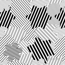 Creative stars decorated abstract pattern design in black, white and grey colors.