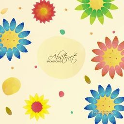 Colorful flowers decorated creative abstract background.