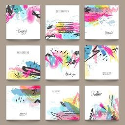 Set of nine creative Abstract Patterns or Backgrounds with colorful paint stroke for Banner, Poster, Card, Invitation, Brochure, Flyer etc.