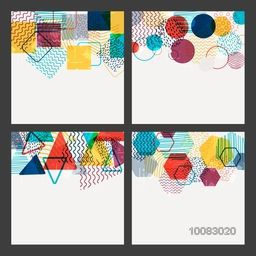 Set of four creative abstract composition with colorful geometric elements on white background.