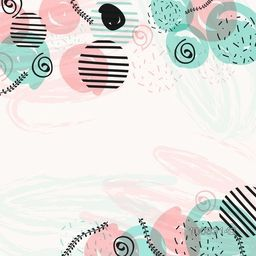 Creative abstract composition with colorful geometric elements in pastel colors.
