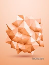Creative glossy low-poly geometric shape or element, Stylish shiny abstract background..